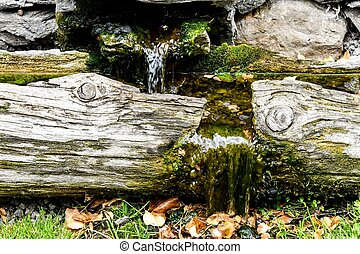 small waterfall in japanese garden, photo as a background , digital image picture