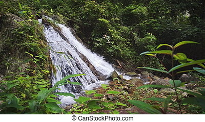 Small waterfall in the rainforest on Phuket island, Thailand