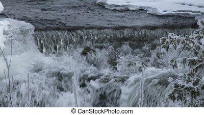 Small waterfall in winter in Canada