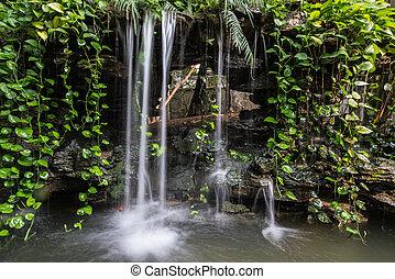 small waterfall of a rockery