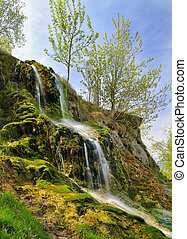Small waterfall on a summer day