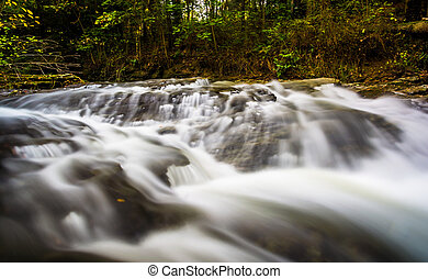Small waterfall on Tucquan Creek, in Lancaster County,...
