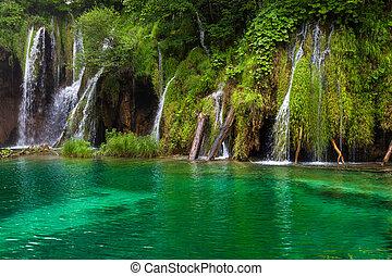 Small Waterfall - Waterfall and lake at Plitvice Lakes,...