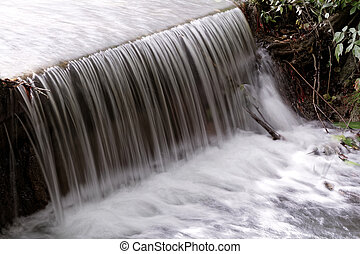 Small waterfall in nature - long shutter speed