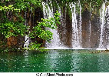 Small Waterfall in the Plitvice Lakes in Croatia