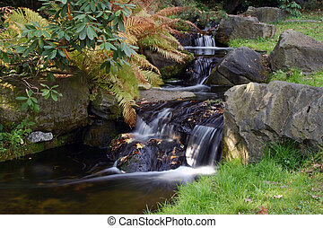 Small waterfall photographed with long time exposure