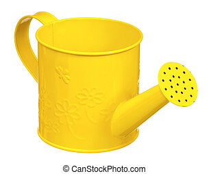Small watering can - Small yellow watering can isolated on...