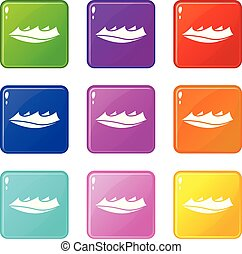 Small wave icons set 9 color collection