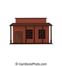 Illustration of small western house with wood door and porch. Old wooden building. Architecture of old west town. City construction element. Colorful flat vector design isolated on white background.