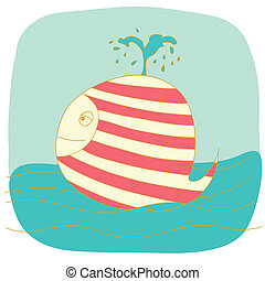 small whale - children's illustration. the small nice whale...