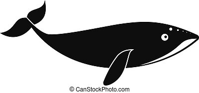 Small whale icon, simple style