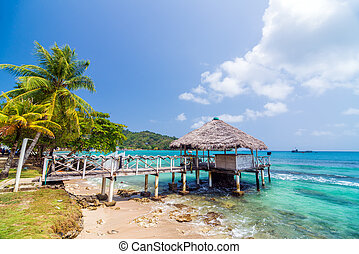 Small Wharf in Sapzurro - A small wharf in the Caribbean Sea...