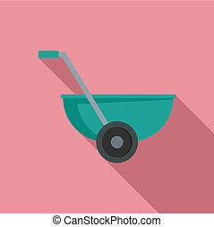 Small wheelbarrow icon, flat style