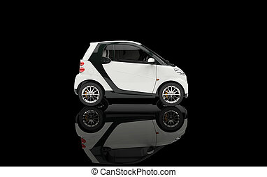 Small White Car On Black