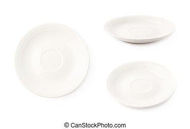 Small white ceramic plate isolated