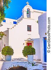 Small white church in Mykonos