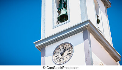 Small white church typical of the Algarve in Portugal