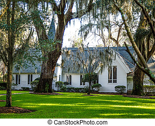 Small White Church Under Southern Oaks - Small White Church...