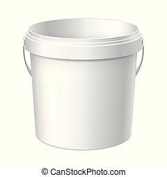 Small White plastic bucket.
