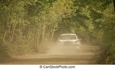 Small White Sedan Stirring Up Dust on Gravel Wood Road -...