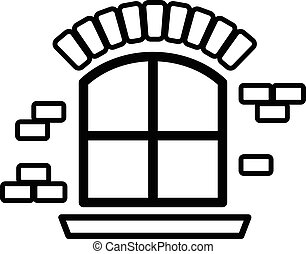 Small window frame icon, simple black style - Small window...