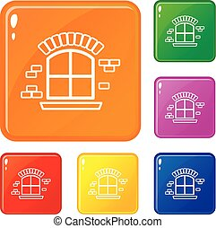 Small window frame icons set vector color