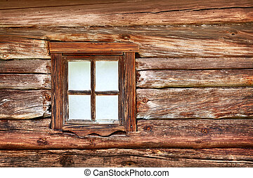 Small window in the old wooden wall