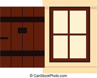 Small window with opened shutter.