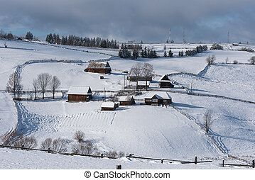 Small winter village in the mountains