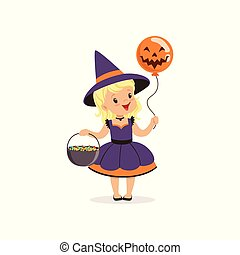 Small witch girl holding bowler full of candies and balloon with scary face, cute kid in halloween costume vector Illustration