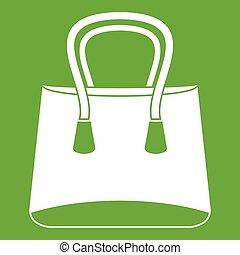 Small woman bag icon green