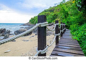 Small wood bridge near the seaside