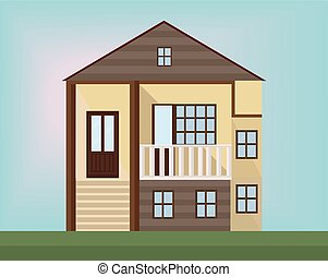 Small wood house Vector facade flat style