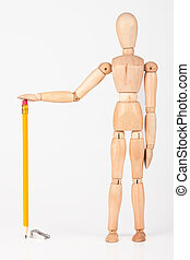 Small wood mannequin standing with colour pencil isolated on white background