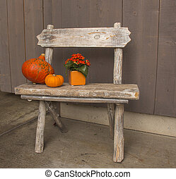Small wooden Bench with decorations