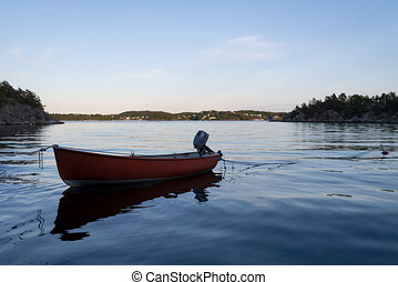 Small wooden boat in the middle of a lake, Lonely wooden boat in the water, isolated wooden boat, Top view of a white small wooden boat floating in the middle of a lake