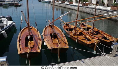Small wooden boats in the Marine
