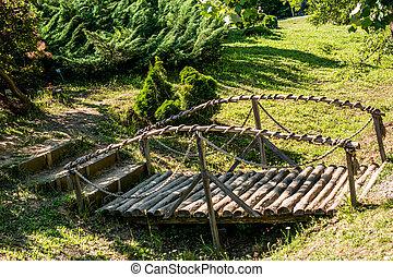 Small wooden bridge in Ataturk Arboretum in Istanbul, Turkey