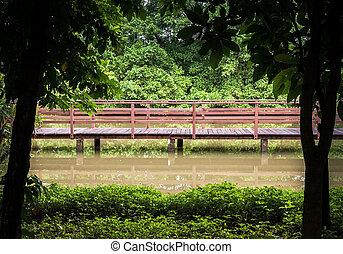 small wooden bridge in the lake