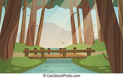 Small wooden bridge in the woods - Cartoon illustration of...