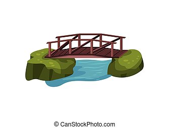 Small wooden bridge over blue pond or river. Outdoor object for city park. Cartoon landscape design. Flat vector illustration
