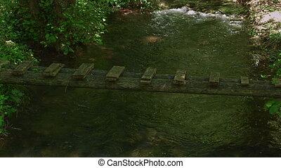 Small wooden Bridge over Krka River - Small bridge on Krka...
