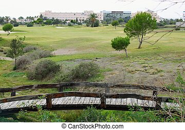 Small wooden bridges on golf course