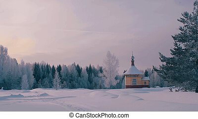 Small wooden church in a forest.