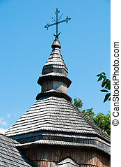 Small wooden church Ukraine open-air museum in Pirogovo.