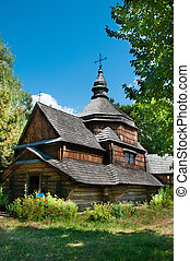 Small wooden church Ukraine open-air museum in Pirogovo.