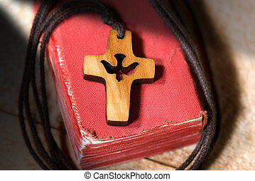 Small Wooden Crucifix with Dove and Bible