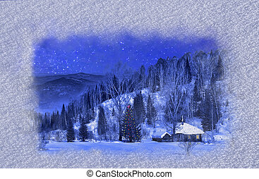 Small wooden house in a night winter mountain landscape - Christmas background