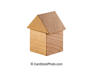 Small wooden house isolated on white background with clipping path