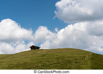 small wooden hut on a grassy alpine hill